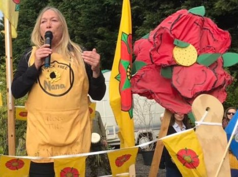 Tina Rothery at National Climate Rally, near Cuadrilla site at Preston New Road, 20 October 2018. Photo: Refracktion