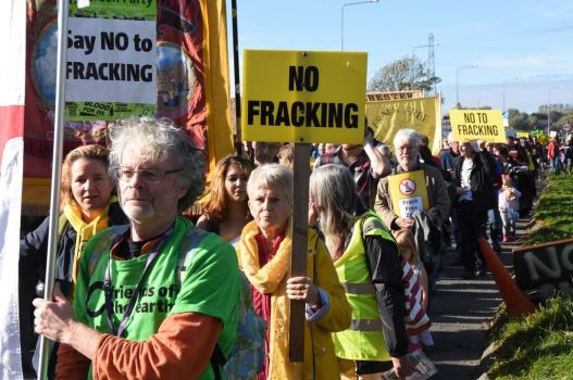 Demonstration outside Cuadrilla's Preston New Road shale gas site, 20 October 2018. Photo: RodHarbinson.com
