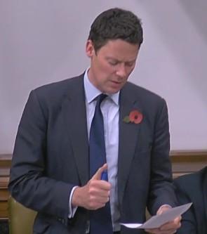 Alex Chalk MP, 31 October 2018. Photo: Parliamentlive.tv