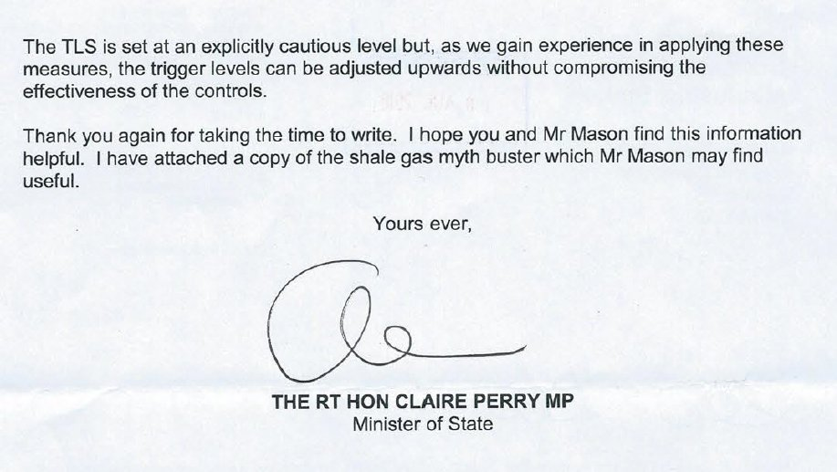 Claire Perry letter to Kevin Hollinrake extract