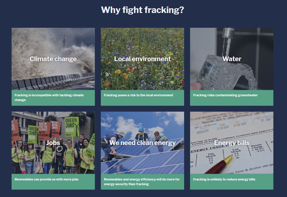 FoE web page on fracking