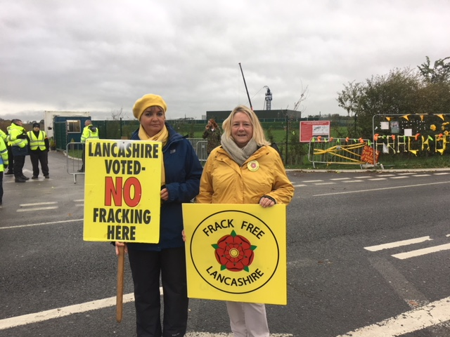 Opponents of Cuadrilla's activities at Preston New Road this morning. Photo: Friends of the Earth, 5/10/2018