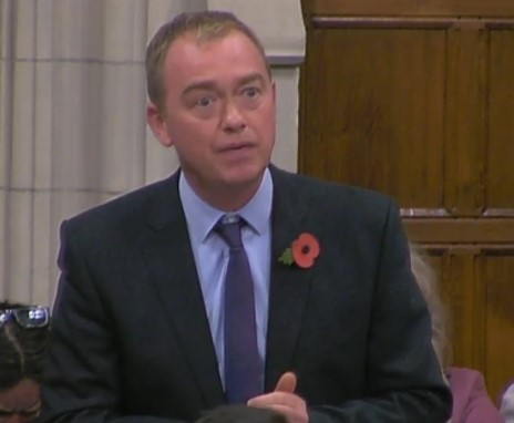 Tim Farron MP, 31 October 2018. Photo: Parliamentlive.tv