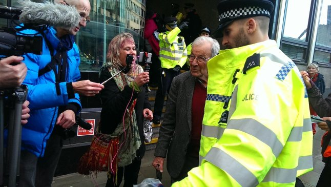 Reggie Norton arrested at climate change protest at the Department of Business, Energy and Industrial Strategy, 12 November 2018. Photo: Christian Climate Action