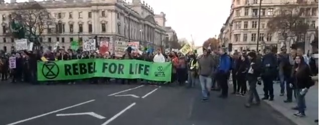 March to Parliament Square in central London in protest against government inaction on climate change, 17 November 2018. Photo: Eddie Thornton