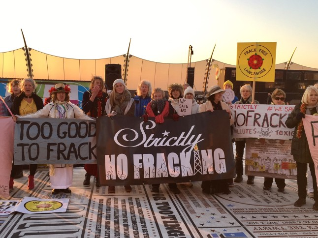 Strictly No Fracking protest outside the Tower Ballroom in Blackpool, 17 November 2018. Photo: Friends of the Earth