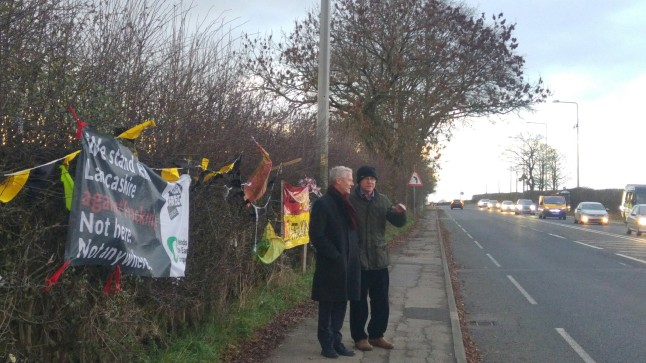 Professor Saunders (left) outside Cuadrilla's shale gas site at Preston New Road, 19 November 2018. Photo: DrillOrDrop