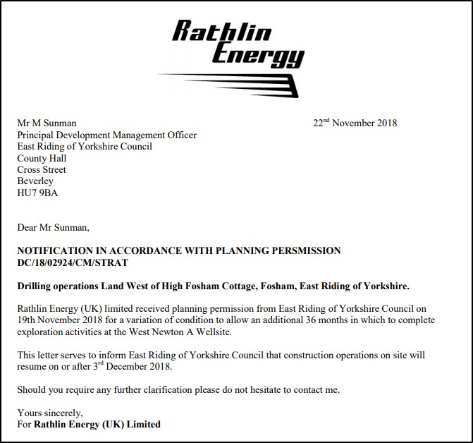 181122 Rathlin Energy notice of work