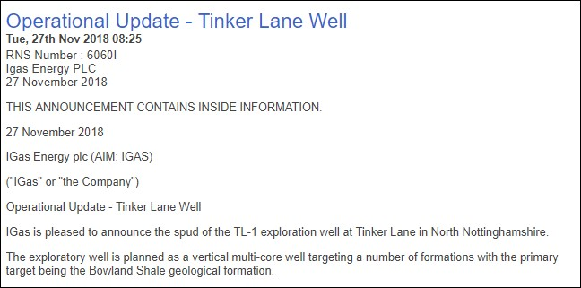 181127 Tinker Lane spud announcement