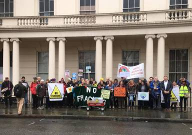 Climate rally outside the Polish embassy, 1 December 2018. Photo: Frack Free United