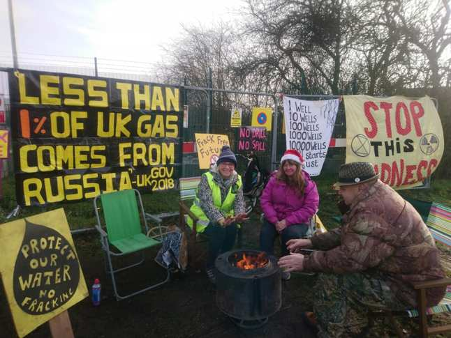 Protest outside IGas's Misson Springs site in north Nottinghamshire, 21 January 2019. Photo: Tina English