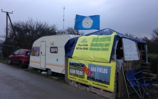 Road-side monitoring camp outside Rathlin Energy's West Newton-A well site, north of Hull, January 2019. Photo: Frack Free East Yorkshire