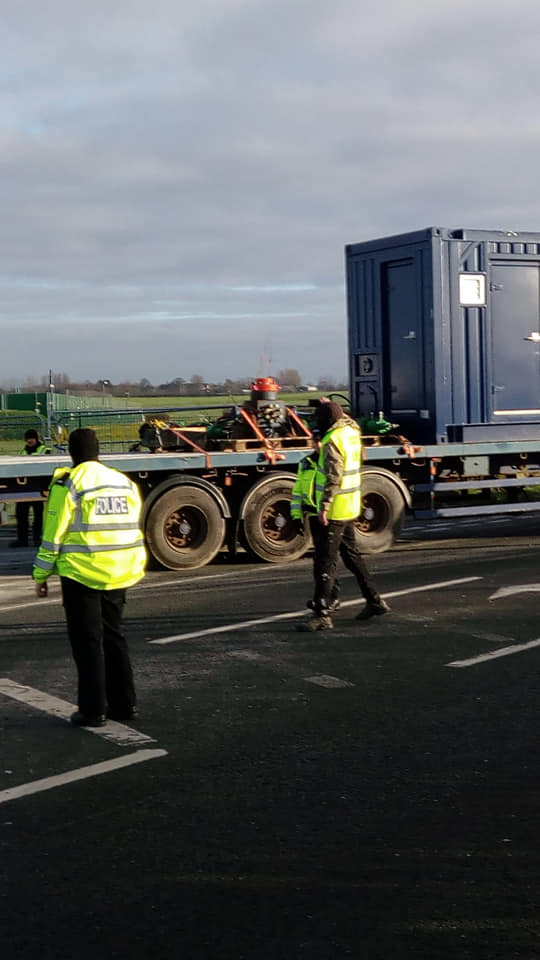 Equipment leaving Cuadrilla's shale gas site, 2 January 2019. Photo: Katrina Lawrie