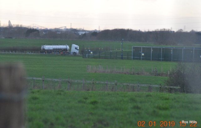 Equipment leaving Cuadrilla's shale gas site, 2 January 2019. Photo: Ros Wills