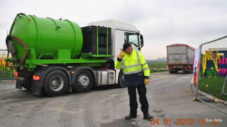 Delivery vehicles entering Cuadrilla's shale gas site, 4 January 2019. Photo: Ros Wills