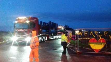 Equipment leaving Cuadrilla's shale gas site, 7 January 2019. Photo: Daniel Huckley-Blythe