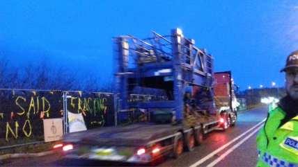 Fracking equipment leaving Cuadrilla's shale gas site at Preston New Road, 7 January 2019. Photo: Daniel Huckley-Blythe