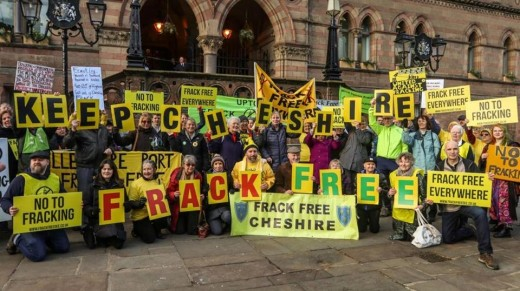 Opponents of IGas's well test plans outside Chester Town Hall, 15 January 2019. Photo: Frack Free Dee