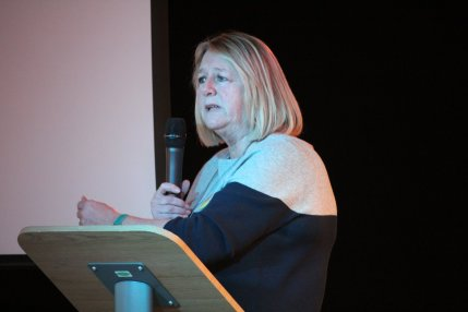 Barbara Richardson, chair of Roseacre Awareness Group, Living with Fracking event at Ribby Hall, near Blackpool, 9 February 2019. Photo: Refracktion.com