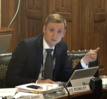 Lee Rowley MP at the Public Accounts Committee, 11 February 2019. Photo: Parliament TV