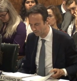 Alex Chisholm giving evidence to the Public Accounts Committee, 11 February 2019. Photo: Parliament TV