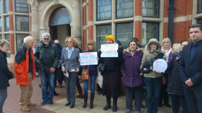 Supporters of the West Newton Monitoring and Information Station outside East Riding of Yorkshire Council, 20 February 2019. Photo: DrillOrDrop