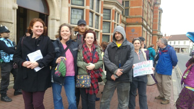 Members of the West Newton Monitoring and Information Station outside East Riding of Yorkshire Council, 20 February 2019. Photo: DrillOrDrop