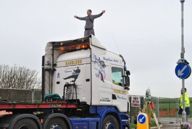 Lorry protest outside Cuadrilla's fracking site at Preston New Road, 8 March 2019. Photo: Ros Wills