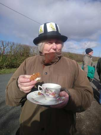 Mad Hatter's tea party outside IGas shale gas site at Misson, north Nottinghamshire, 11 March 2019. Photo: Tina English