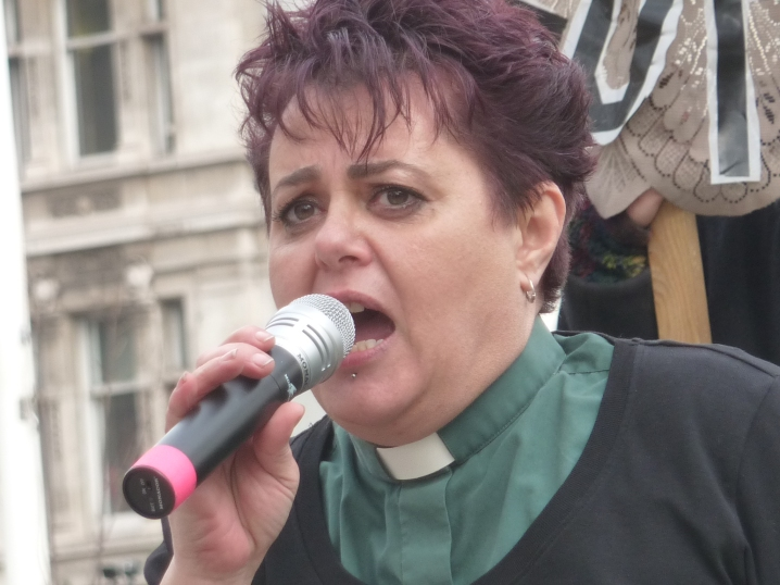 Debbie Hodson at Westminster rally, 5 March 2019. Photo: DrillOrDrop