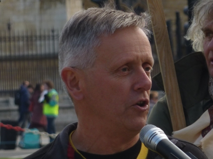 Dennis May at Westminster rally, 5 March 2019. Photo: DrillOrDrop