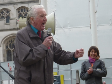 Dennis Skinner MP at Westminster rally, 5 March 2019. Photo: DrillOrDrop