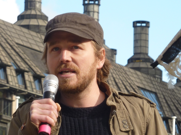Eddie Thornton at Westminster rally, 5 March 2019. Photo: DrillOrDrop