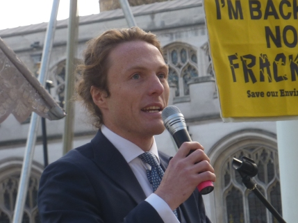 Paul Powlesland at Westminster rally, 5 March 2019. Photo: DrillorDrop