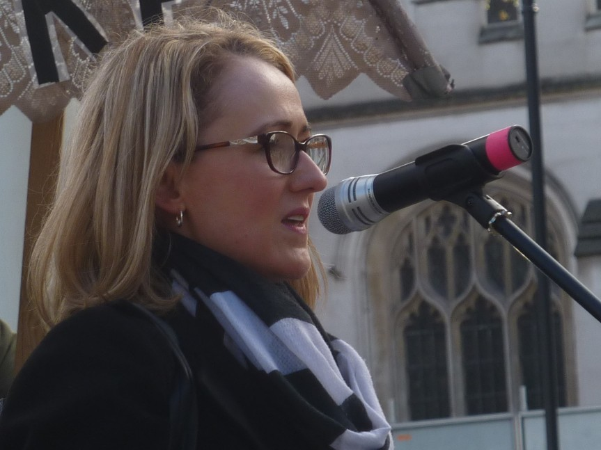 Rebecca Long-Bailey, MP, Shadow Secretary of State for Business, Energy and Industrial Strategy at Westminster rally, 5 March 2019. Photo: DrillOrDrop