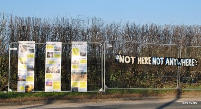 Fencing outside Cuadrilla's shale gas site at Preston New Road, 27 February 2019. Photo: Ros Wills
