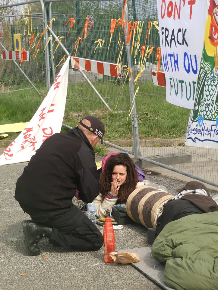 Protest at IGas shale gas site at Springs Road, Misson, 1 April 2019. Photo: Alan Finney