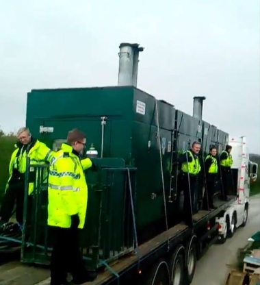 Delivery of drilling equipment to Rathlin Energy's West Newton-A well site, 8 April 2019. Photo: Still from video by Katrina Lawrie
