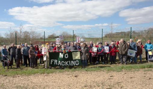 Anniversary walk alongside Third Energy's fracking site at Kirby Misperton, North Yorkshire, 10 April 2019. Photo: Hazel Winter