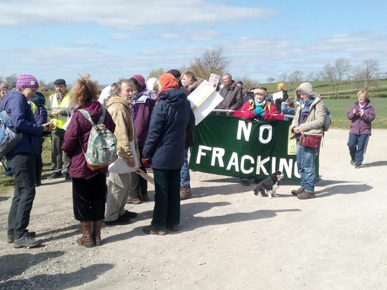 Anniversary walk alongside Third Energy's fracking site at Kirby Misperton, North Yorkshire, 10 April 2019. Photo: Steve Spy