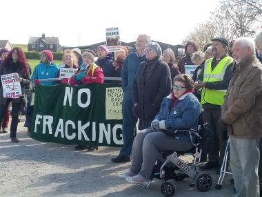 Kirby Misperton residents marking one year since Third Energy removed equipment from the KM8 site without fracking, 10 April 2019. Photo: Steve Spy