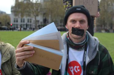 UK Youth Climate Coalition silent protest against fracking, Parliament Square, London, 14 April 2019. Photo: UKYCC