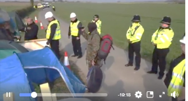 Eviction of road-side camp outside Rathlin Energy's West Newton-A exploration site, 16 April 2019. Photo: from livestream video