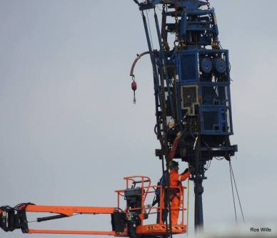 Work on fracking equipment at Cuadrilla's shale gas site at Preston New Road, 29 March 2019. Photo: Ros Wills