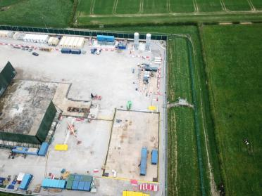 Drone picture of Cuadrilla's Preston New Road shale gas site, near Blackpool, 25 April 2019. Photo: Debs Jackson