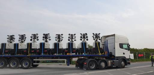 Lighting gear leaving Cuadrilla's Preston New Road shale gas site, near Blackpool, 24 April 2019. Photo: Jo Lucylou