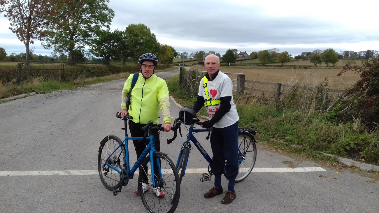 Stuart is joined by Steve Jennings on the final ride seen here at a now peaceful entrance to KM8