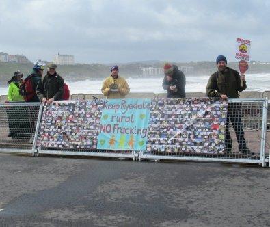 Team Ineos protest, Scarborough, 4 May 2019. Photo: Hazel Winter