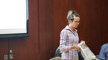 Ada Zaffina, Brockham Oil Watch, speaking at meeting in Breare Village Hall, 18 May 2019. Photo: Jon O'Houston