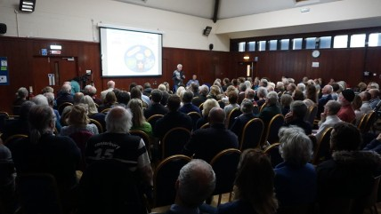 Meeting on earthquakes and unconventional drilling, Breare Village Hall, 18 May 2019. Photo: Jon O'Houston Hall, 18 May 2019. Photo: Jon O'Houston